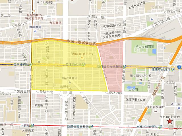 東區の範囲(Google Map)